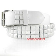 Pyramid Studded Snap  Leather Belt M 32-36 White Stud
