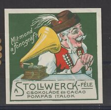 Hungarian Poster Stamp Chocolate Cocoa Phonograph Large