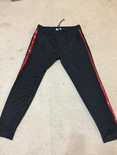 ZARA MAN BLACK JOGGING TROUSERS WITH RED SEQUIN BAND SIZE XL Preowned