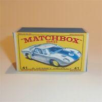 Matchbox Lesney 41 c Ford GT Racer empty Repro E style Box