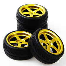 4X Rubber Tires Wheel Rim For HPI HSP RC 1:10 Flat Racing On Road Car D5G+PP0150