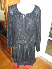 AUC MICHAEL KORS BLACK SEQUIN FULLY LINED LONG SLEEVE  DRESS SZ XS RETAIL $175