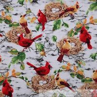 BonEful Fabric FQ Cotton Quilt VTG White Holiday Xmas Red Cardinal Bird Egg Nest