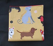 Mens Mustard & Red Black Dog Handkerchief Pocket Square Hankies Hanky- Cruffs-UK