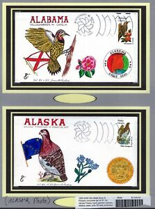 Set/50 State Birds & Flowers 1982 FDCs - 1st Paslay Hand-Painted