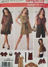 Simplicity easy pattern 3533 Misses Dress or Top, Jacket sz 14,16,18,20,22 uncut
