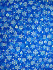 Christmas White and Light Blue Snowflakes on Blue 100% Cotton Fabric 5/6-yd