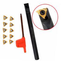 Internal Lathe Threading Boring Bar Holder Turning Tool 10x Inserts Wrench Parts