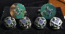 Silver round Square & Compass cuffs and studs G centered in Blue