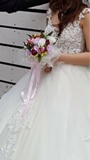 Wedding gown white long trail and handstitched embellishments - veil included