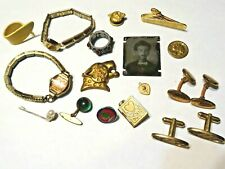 Junk Drawer Lot ~ Tin Photo / Ring / Watch / Cufflinks & Other Items