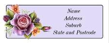 30 Personalised Quality Plus  Adhesive Address Labels - Purple Rose