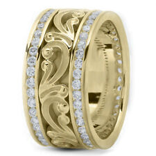 Carved Wedding Band Ring 11mm Size 7 New Ladies 14k Yellow Gold Diamond Hand