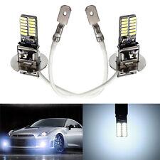 2x H3 6500K White 24 SMD 4014 LED High Power Bulb Fog Light Driving Lamp 12V DC