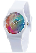 Watches White Resin Super Soft Band Student Watches for Teenagers Young Girls Wa