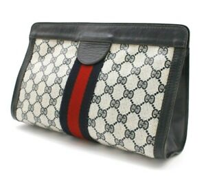 【Rank AB】 Authentic Gucci Sherry GG Supreme Clutch Hand Bag Second Vintage Navy