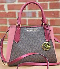 Michael Kors Kimberly MK Signature Brown Pink  SM Satchel Tote Bag