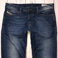 Mens DIESEL Viker Jeans W34 L30 Blue Regular Straight Wash 0R80K