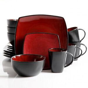 Gibson Elite Soho Lounge 16 Piece Plates, Bowls, & Mugs Dinnerware Set, Burgundy