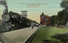 C. 1910 A. T. & S. F. Passenger Depot, Hutchinson, Kans. Vintage Postcard F29