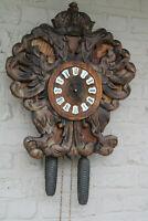 Black forest wood carved eagle figural German wall clock vintage 1950