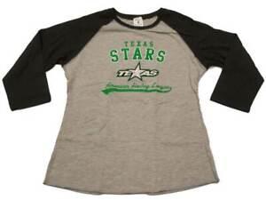 Texas Stars SAAG WOMENS Two-Toned Gray 3/4 Sleeve Crew Neck T-Shirt
