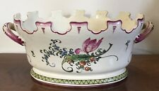 Vintage French Country Faience Tin Glaze Pottery Monteith Centerpiece Bowl