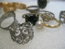 Vintage Lot of 12 rings, Avon Cameo, Gold Tone, Silver Tone, Wrapped, Faux Pearl