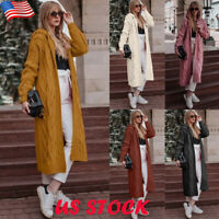 Womens Hoodie Knitted Cardigan Jacket Ladies Hooded Long Sweater Coat Outwear US
