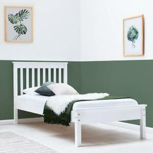 White Solid Pine Wood Farmhouse Shaker Style Single Wooden Bed Frame    BSD