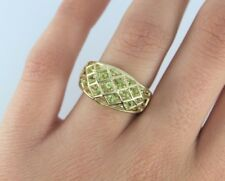 CHINA 10K Solid Yellow Gold Peridot Cocktail Ring Band Size 6