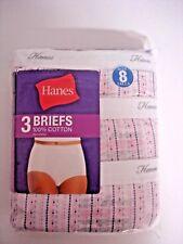 HANES 3 Pack BRIEFS PANTIES COLOR White/Purple Dots 100% COTTON SIZE: 8  WOMEN'S