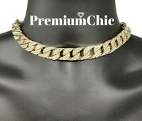 "ICED Hip Hop Mens Quavo Gold PT 14mm 16"", 18"" Miami Cuban Choker Chain Necklace"