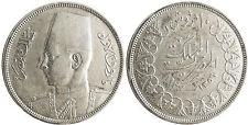 EGIPTO , FAROUK , 10 PIASTRAS PLATA , 1937