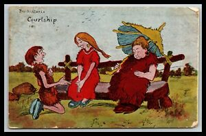 PRE-HISTORIC COURTSHIP PROPOSAL ON A STONE BENCH MOTHER SLEEPING POSTCARD 968