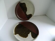 """Pair of Marlis Studio Hand Thrown Pottery Plates Signed Stamped 10"""""""