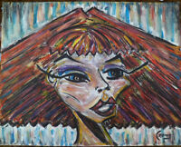 WEDGE HEAD woman redhead art portrait Oil Painting 8x10 Original signed CROWELL