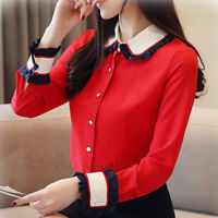 Women Button Down Ruffle Long Sleeve Slim Career Business Office Work Blouse Top