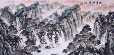 Mountains view-ORIGINAL FAMOUS ASIAN FINE ART CHINESE SANSUI WATERCOLOR PAINTING