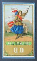 Ancienne étiquette FIL LIN A JEANNE D'ARC CD french linen thread label 3