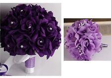 2 bouquets-bridal flower girl/Toss-purple,lavender,white silk flower