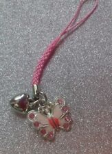 Phone charm with plaited cord  Pink  Butterfly & Heart charm hand made