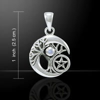 Peter Stone Tree of Life Moon Pentagram Sterling Silver Pendant Wiccan Pagan