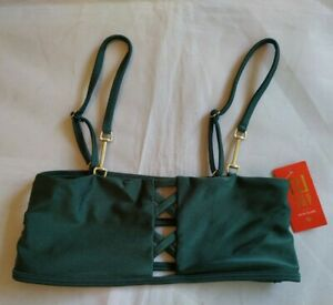 River Island Green Stretch Strappy Back  Bikini Top BNWT Size UK 10