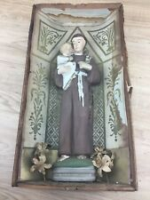Antique Christian Catholic Religious Statue Shadow Box Vintage