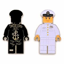 """US NAVY OFFICER CPO LEGO CHIEF MESS """"NAVY CHIEF NAVY PRIDE"""" CHALLENGE COIN M-WHT"""