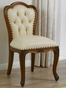 Office chair Josephine English style walnut faux leather champagne