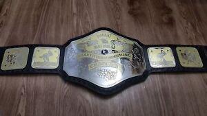 NWA National Heavyweight Wrestling Championship Belt Leather Replica Plate Adult