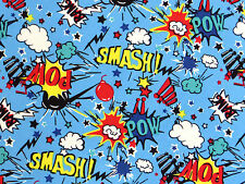 Blue SMASH POW COMIC BOOK Cotton cartoon superhero pop art retro boys fabric 1m