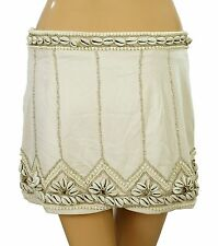 131987 New $168 Free People Metal Bead Embellished Beige Mini Skirt XS US 0